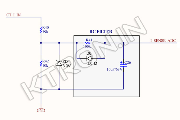 3 Phase CT Coil Schematic for 3.3V Device