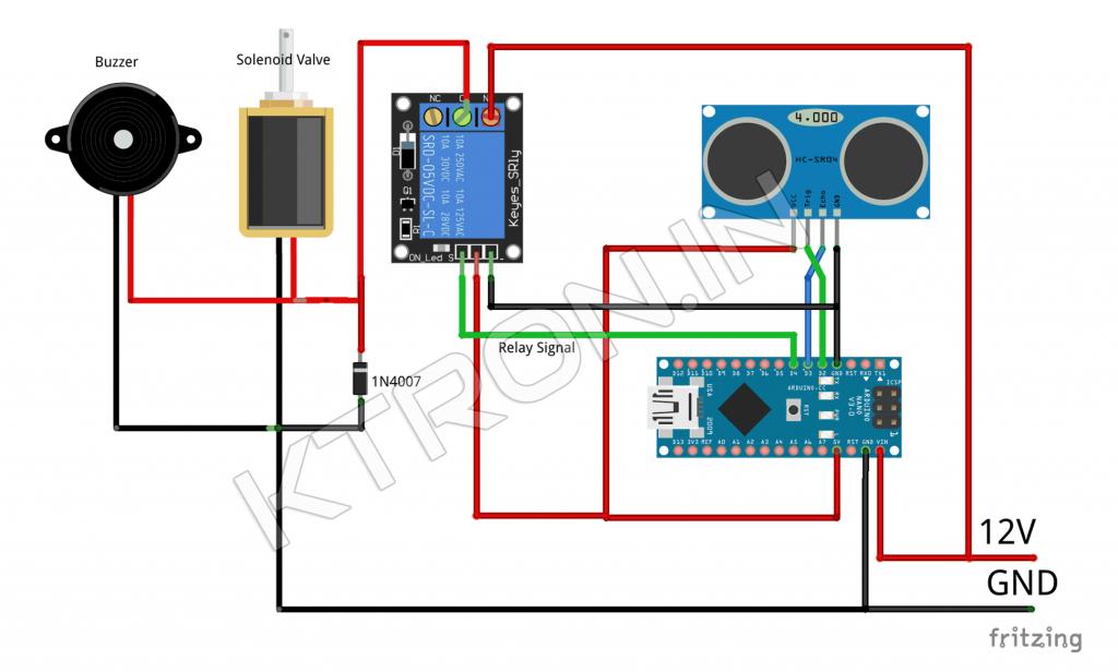 DIY Automatic Hand Sanitizer Dispenser Connection Diagram